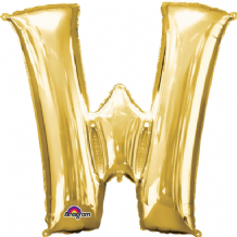 "Gold Letter W Balloon - Gold Letter Balloon (34"")"